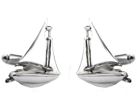 Sterling Silver Sailing Yacht Cufflinks