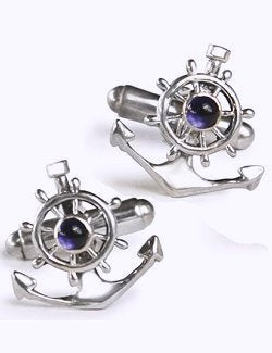 Ship's Anchor & Wheel Sterling Silver Cufflinks - Nautical Luxuries