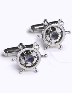 Sterling Silver Ship's Wheel Cufflinks - Nautical Luxuries