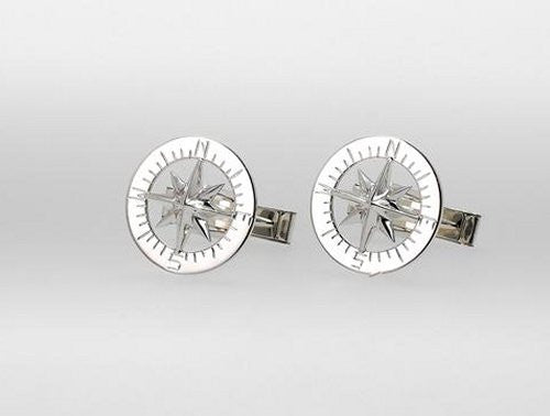 Waypoints Sterling Silver Compass Rose Cufflinks