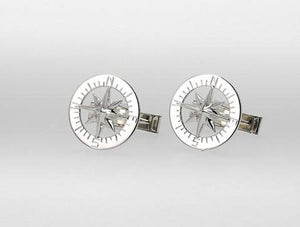 Waypoints Sterling Silver Compass Rose Cufflinks - Nautical Luxuries