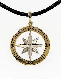 Men's Custom Lat/Lon Waypoints 14k Compass Rose Pendant - Nautical Luxuries