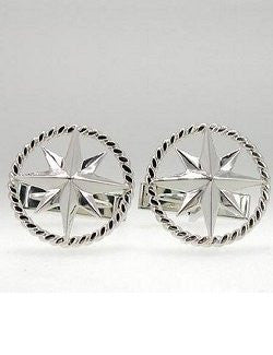 Rope Ringed Sterling Silver Compass Rose Cufflinks