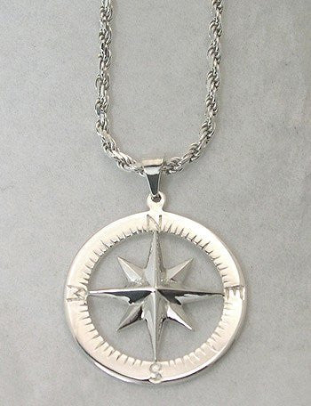 Compass Rose Waypoints Sterling Silver Necklace - Nautical Luxuries