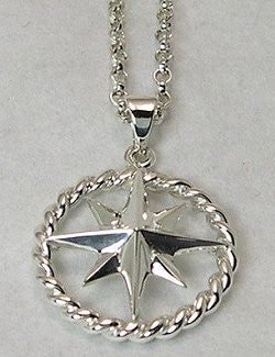 Nautical Line Compass Rose Necklace