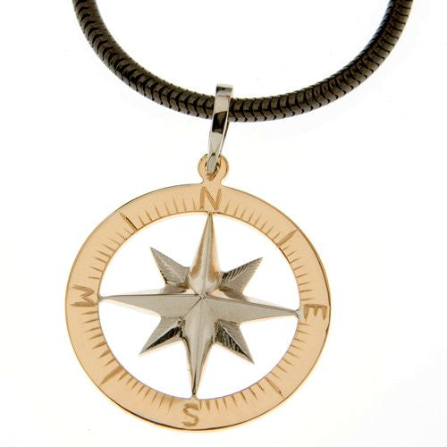 Compass rose gold waypoints necklace large pendants nautical luxuries compass rose gold waypoints necklace large pendants mozeypictures Gallery