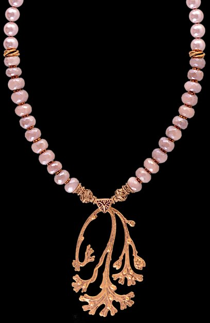 Peach Moonstone Coral Branch Pendant Necklace - Nautical Luxuries
