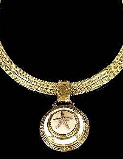 Bavarian Glass & Brass Starfish Pendant Necklace - Nautical Luxuries