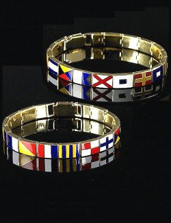 Signature Code Flag His & Hers Band Link Bracelets