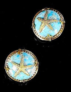 Heirloom Relics Turquoise Starfish Clip-On Earrings