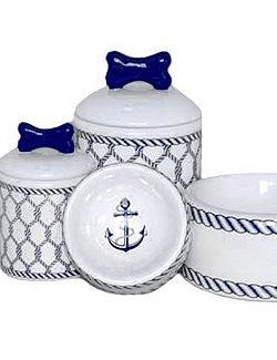 Nautical Net Ceramic Pet Canisters & Bowls