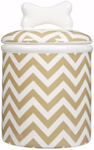 Sandy Chevron Ceramic Pet Canisters & Bowls - Nautical Luxuries
