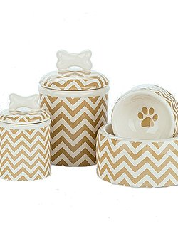 Sandy Chevron Ceramic Pet Canisters & Bowls