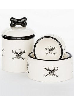 Pirate Skull & Crossbones Ceramic Pet Canisters & Bowls - Nautical Luxuries