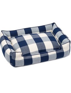 Nautical Navy Check Luxury Pet Bed - Nautical Luxuries