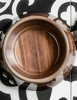 Non-Breakable Glossy Acacia Wood Pet Bowl - Nautical Luxuries