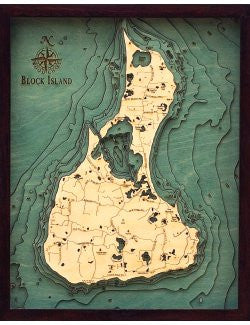 nautical chart framed art Block Island