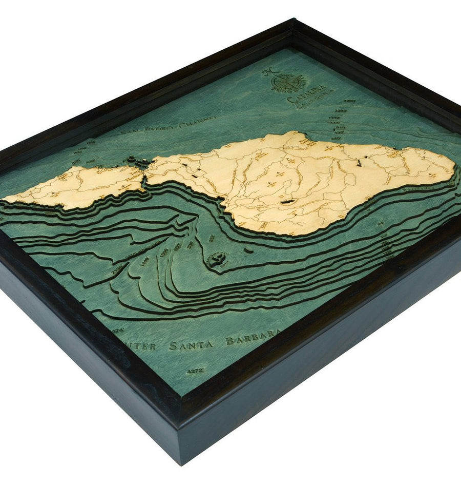 3-D Framed Wood Bathymetric Charts - Nautical Luxuries