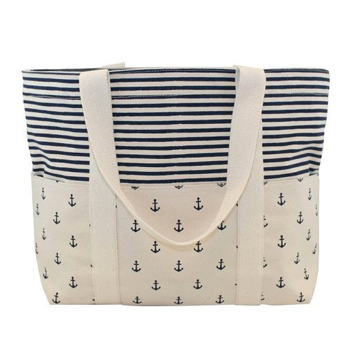 Anchors & Stripes Canvas Carryall Tote