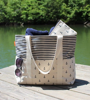 Anchors & Stripes Canvas Carryall Tote - Nautical Luxuries
