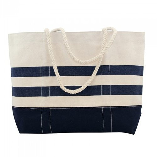 Cabana Stripe Rope Handle Canvas Carryall Tote - Nautical Luxuries