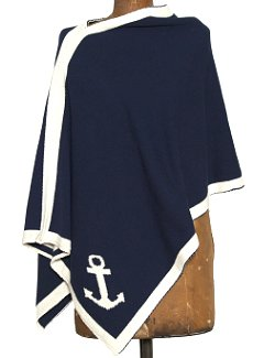 Eco-Conscious Nautical Anchor Knit Poncho