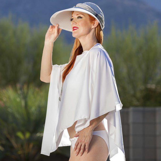 uv protective fashion sun hat and scarf