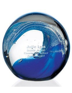 Customized Ocean Themed Wave Glass Paperweight (Bulk Item)