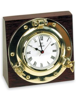Wood Block Porthole Desk Clocks