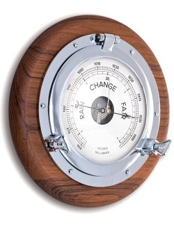 Teak Base Porthole Wall Barometers