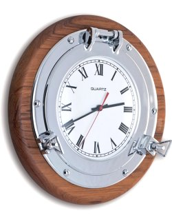 Teak Base Porthole Wall Clocks