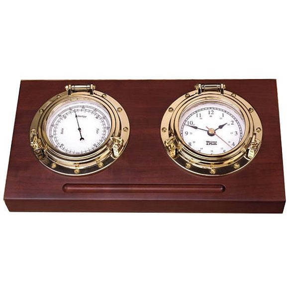 Weems & Plath Porthole Clock & Barometer Desk Set