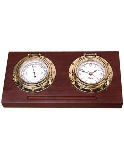 Weems & Plath Porthole Clock & Barometer Desk Set - Nautical Luxuries