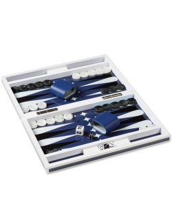 Lacquered Wood Nautical Blue Superyacht Backgammon Set - Nautical Luxuries
