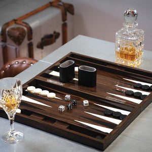 Lacquered Wood Grain Superyacht Backgammon Set - Nautical Luxuries