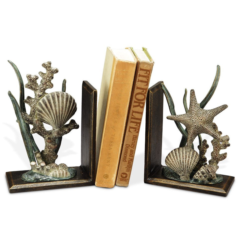 Shell Reef Metal Bookend Set