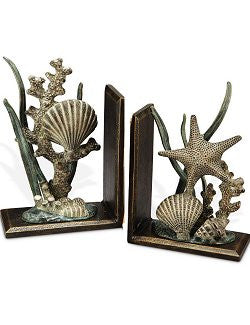 Shell Reef Metal Bookend Set - Nautical Luxuries