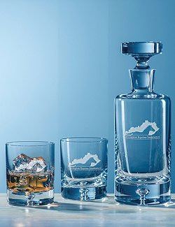 Customized Bubble Base Crystal Whiskey Decanter Set - Nautical Luxuries