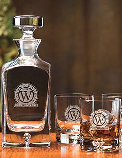 Customized Square Crystal Whiskey Decanter Set - Nautical Luxuries