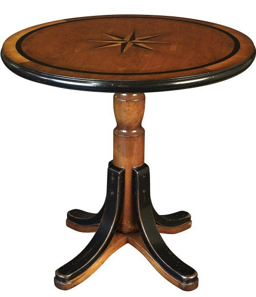 Inlaid Compass Rose Wooden Accent Table