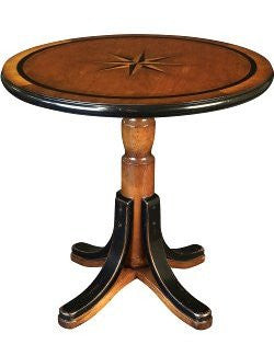 Inlaid Compass Rose Wooden Accent Table - Nautical Luxuries