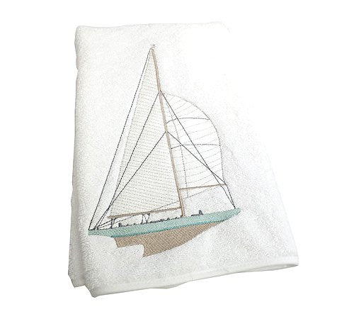 Embroidered Nautical Sailboat Towels