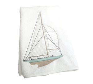 Sailing Yacht Embroidered Towels - Nautical Luxuries