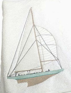 Sailing Yacht Embroidered Towels