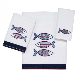 Nantucket Blue Fins Embroidered Towels - Nautical Luxuries