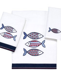 Nantucket Blue Fins Embroidered Towels