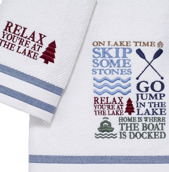 Lake Time Embroidered Towel Set