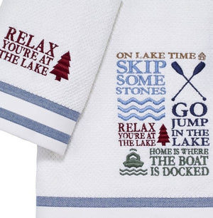 Lake Time Embroidered Towel Set - Nautical Luxuries