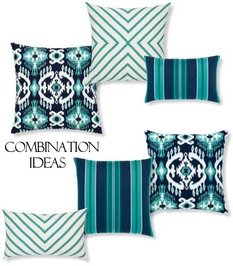 sunbrella outdoor pillow elegant turquoise and navy