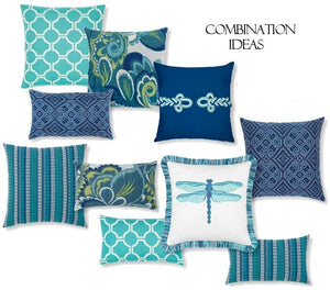 Floral Print Sunbrella® Outdoor Pillows (4 Colors) - Nautical Luxuries